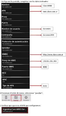 Configuracion 3G APN Claro Argentina Android