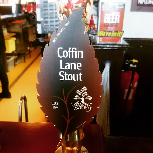 Derbyshire Craft Beer Review: Coffin Lane Stout from Ashover Brewery real ale pump clip