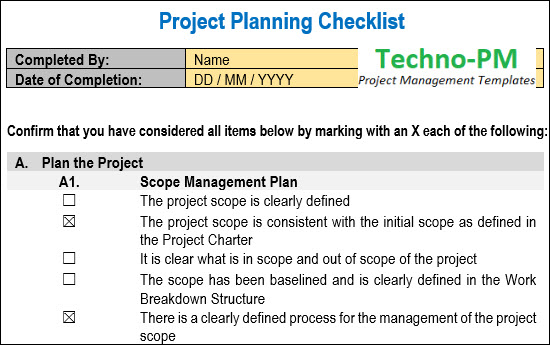 Project Checklist Template, Project Management Checklist