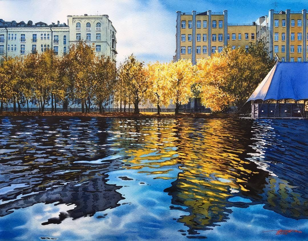 03-Moscow-Igor-Dubovoy-Realistic-Urban-Watercolor-Paintings-www-designstack-co