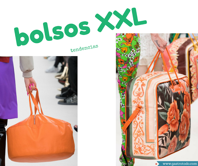 El naranja-color de temporada- destaca en el colorido de estos grandes bolsos