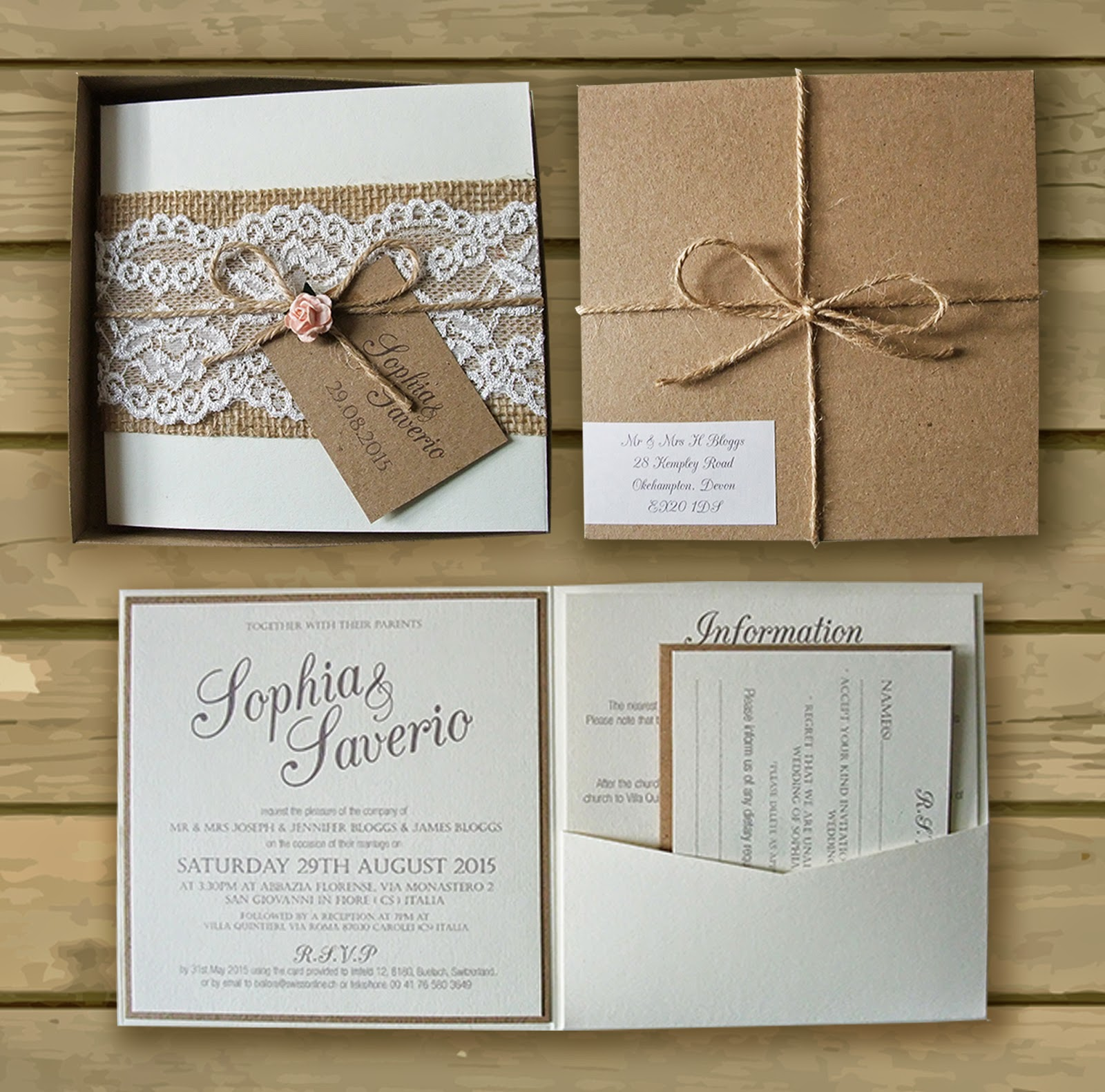 Bespoke Wedding Invitations: Knots And Kisses Wedding Stationery: Bespoke Boxed Kraft