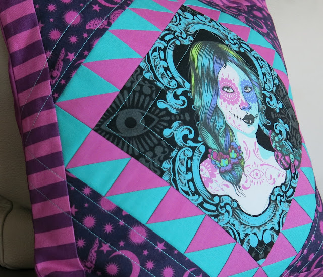 Luna Lovequilts - Quilted pillow / cushion in De La Luna collection by Tula Pink - Close-up