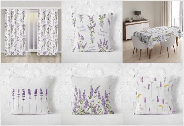 tkaniny w stylu prowansalskim, materiały w stylu francuskim, tekstylia z motywem lawendy, lawenda w mieszkaniu