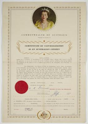 Certificate of Naturalization as an Australian Citizen
