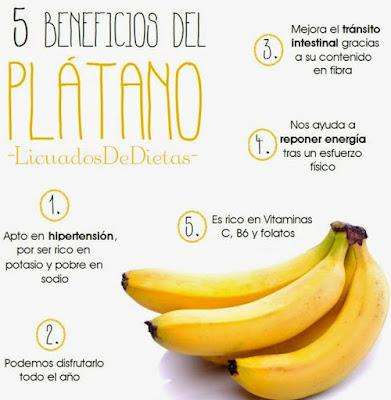 El platano es una de las frutas más recomendadas para las personas que sufren de depresion o necesitan estar activos para una larga noche de trabajo o si eres deportista se recomienda también consumirlo por que está altamente compuesto de proteinas.