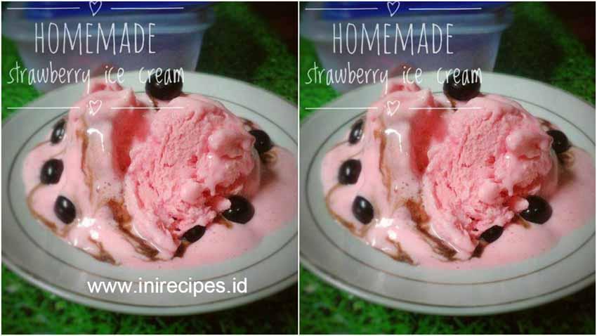 Resep Membuat Strawberry Ice Cream Ekonomis by Ocha Nicesha