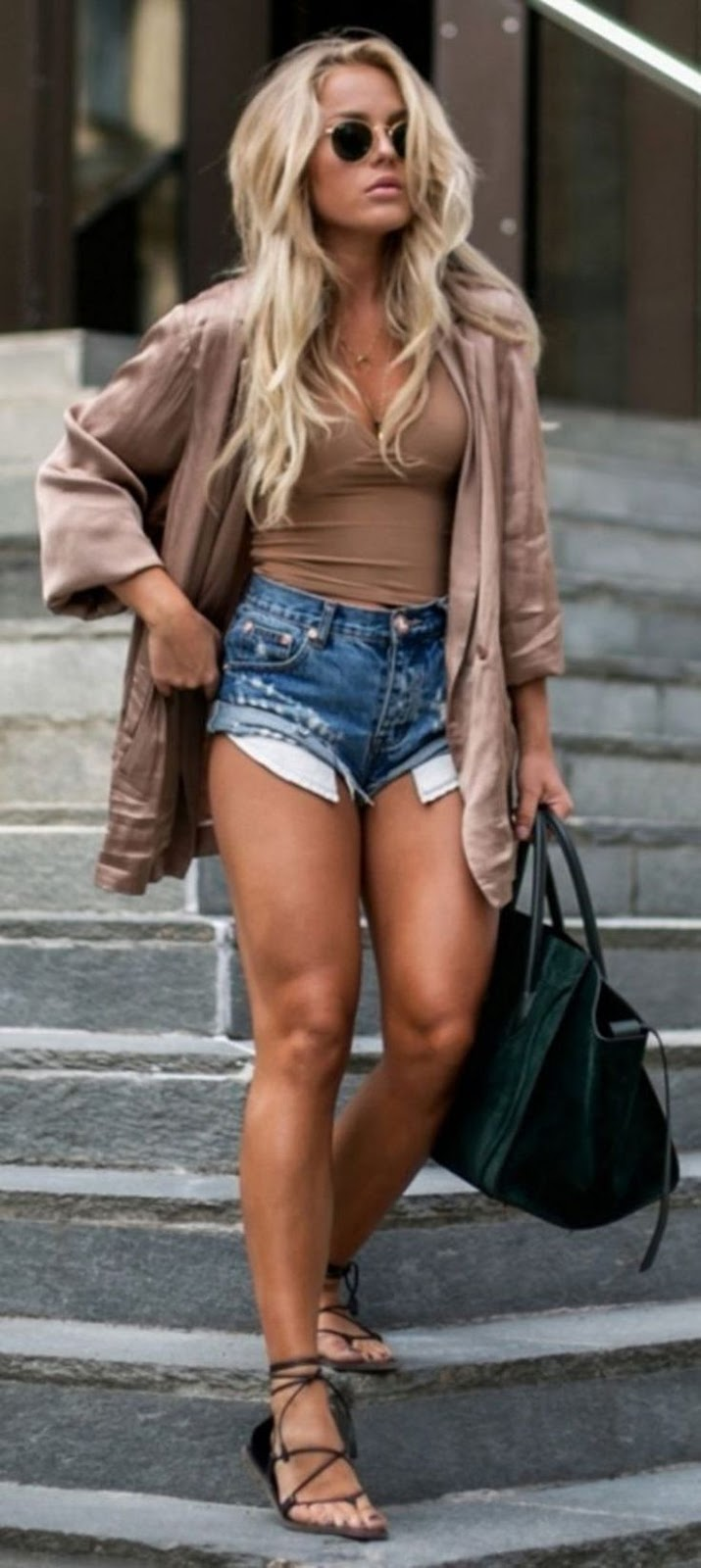 how to wear a pair of lace up sandals : nude shirt + top + bag + denim shorts
