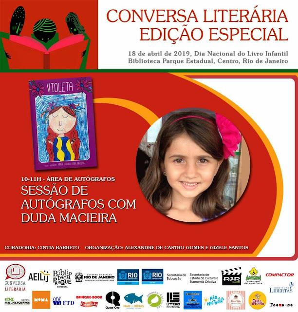 """Autora de oito anos participa de sessão de autógrafos no evento """"Conversa Literária - Edição Especial"""""""