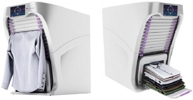 photo mesin canggih ini dapat melipat baju secara otomatis setelah selesai dicuci dan dikeringkan.