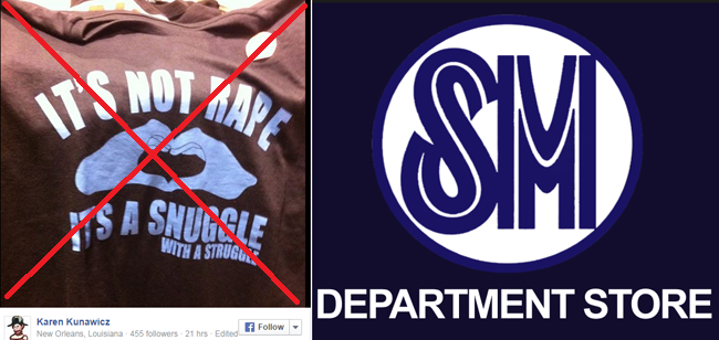Controversial 'It's Not Rape, It's A Snuggle With A Struggle' Shirt on SM Department Store