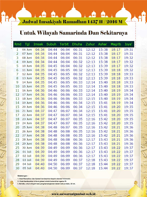 Jadwal Imsakiyah Samarinda Ramadhan 1437 H 2016