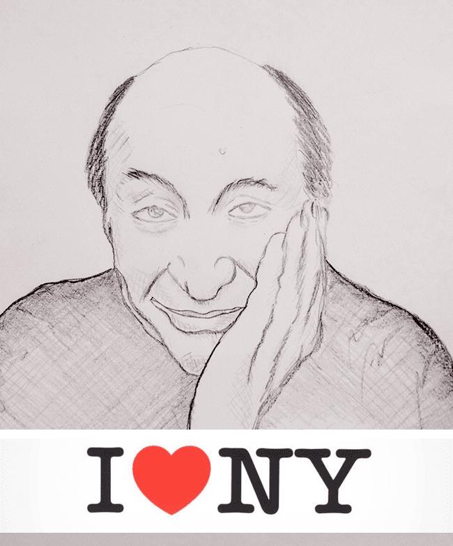 Retrato a lapiz de Milton Glaser.