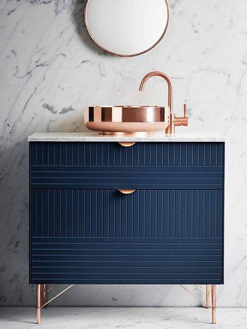 image result for ikea hack sink base painted blue and copper sink with marble wall
