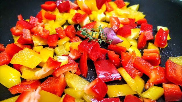 diced peppers in a pan for Last Minute Roast