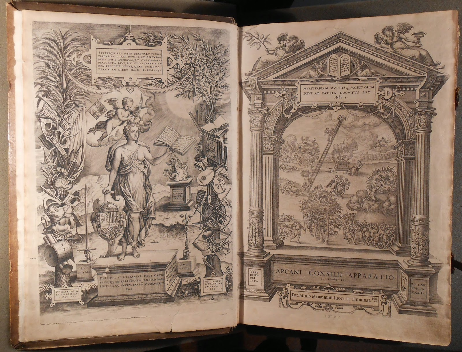 An open book showing two pages of elaborately detailed illustrations.