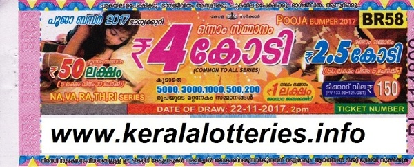Official Result of Pooja Bumper-2017 (BR-58) on 22-11-2017