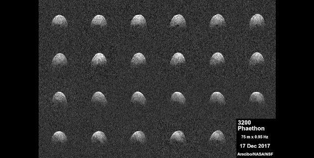 These radar images of near-Earth asteroid 3200 Phaethon were generated by astronomers at the National Science Foundation's Arecibo Observatory on Dec. 17, 2017. Observations of Phaethon were conducted at Arecibo from Dec.15 through 19, 2017. At time of closest approach on Dec. 16 at 3 p.m. PST (6 p.m. EST, 11 p.m. UTC) the asteroid was about 6.4 million miles (10.3 million kilometers) away, or about 27 times the distance from Earth to the moon. The encounter is the closest the object will come to Earth until 2093. Credit: Arecibo Observatory