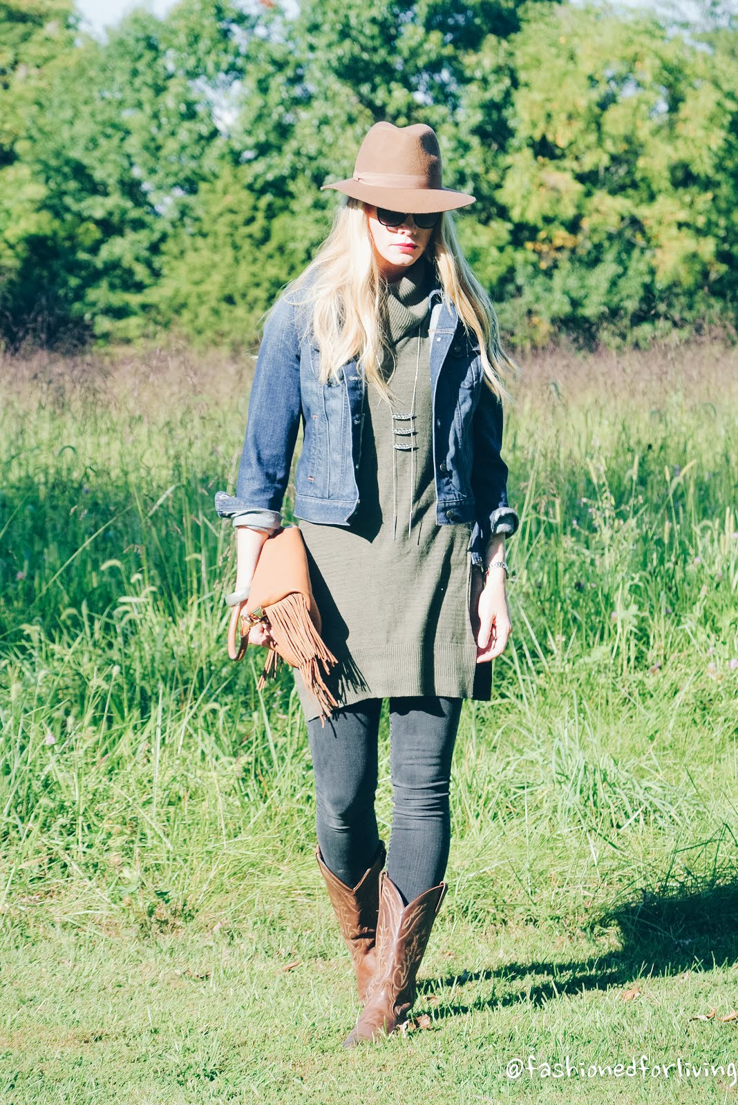 Fashioned For Living Olive Sleeveless Tunic With Denim