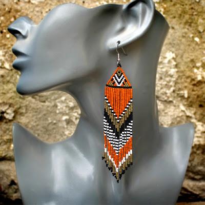 украшения в стиле бохо ручной работы купить бохо серьги из бисера