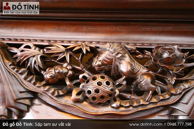 Sập tam sư vắt vải - Mẫu sập gỗ chân quỳ đẹp trong tháng 3