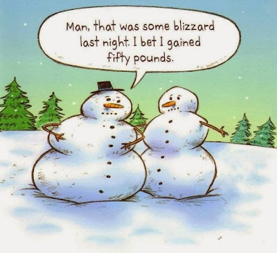 Funny snowman blizzard cartoon - Man, that was some blizzard last night.  I bet I gained fifty pounds