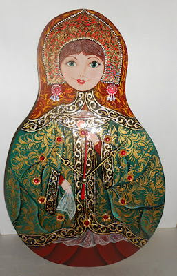 Wall clock art Matryoshka handmade щт Уеын