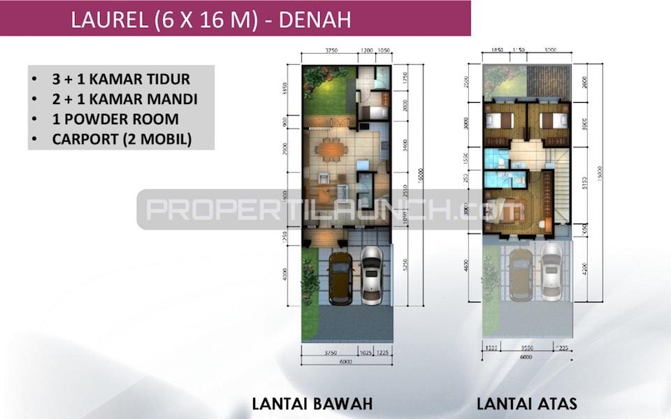Denah Cluster Leora Tipe 6x16
