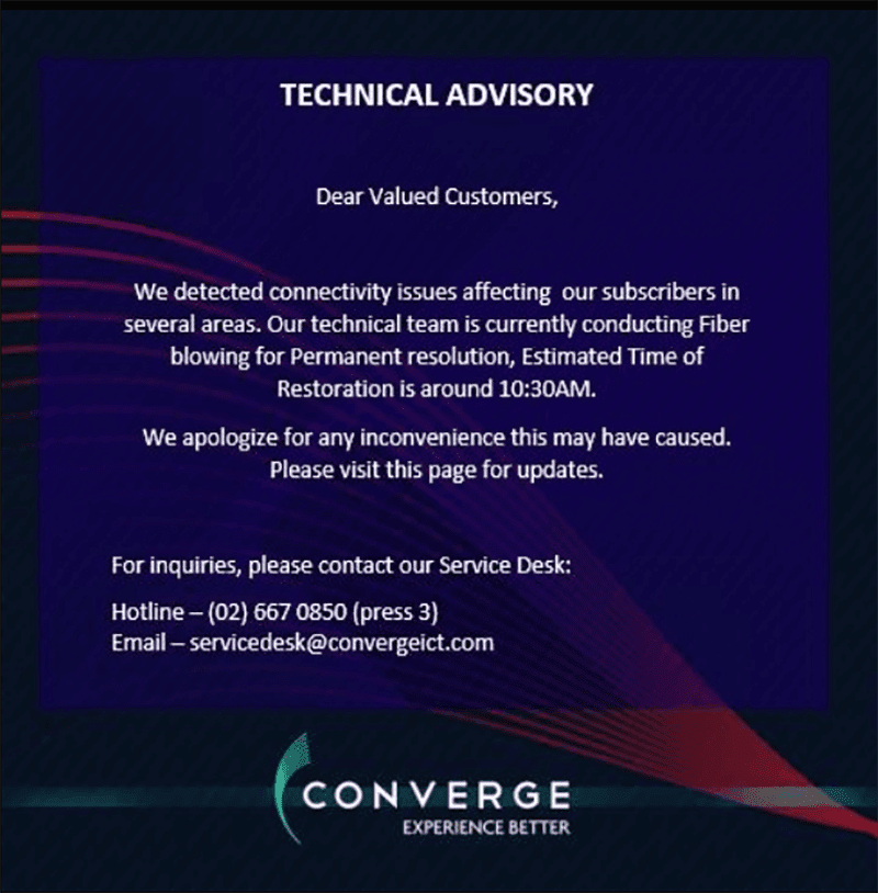 Converge ICT's official statement
