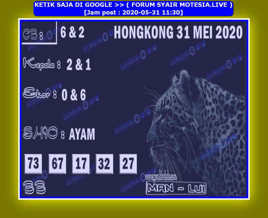 Kode syair Hongkong Minggu 31 Mei 2020 212