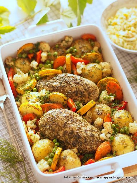 piersi w ziolach z warzywami, kurczak ziolowy pieczony, warzywa pieczone, obiad z piekarnika, dietetyczny obiad, dietetyczne danie, niskokaloryczne, kolorowo