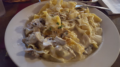"""Festival Fettucini"" is the Rome's standard Fettucini Alfredo with mushrooms added, quite a healthy portion and delicious!"