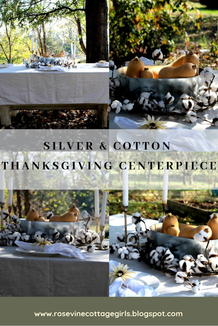 Collage of table with white tablecloth, white plates, a bowl of squash and candlesticks. | Thanksgiving Centerpiece