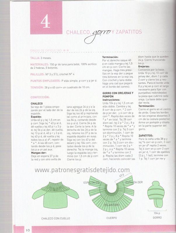 instrucciones para tejer ajuar de bebe con dos agujas