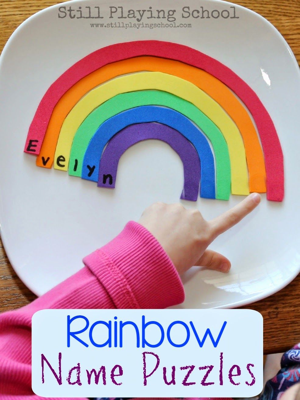 Rainbow Name Puzzles For Kids Still Playing School