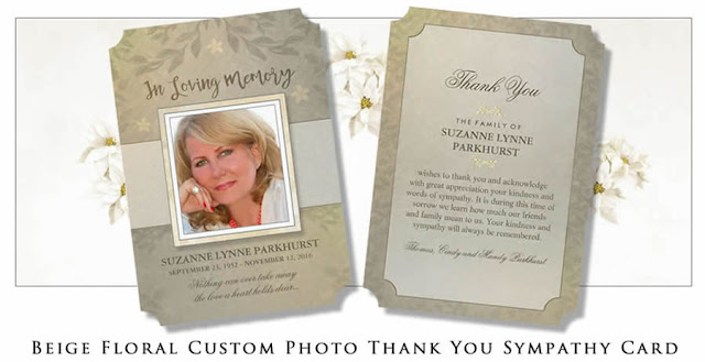 beige floral photo sympathy funeral thank you card