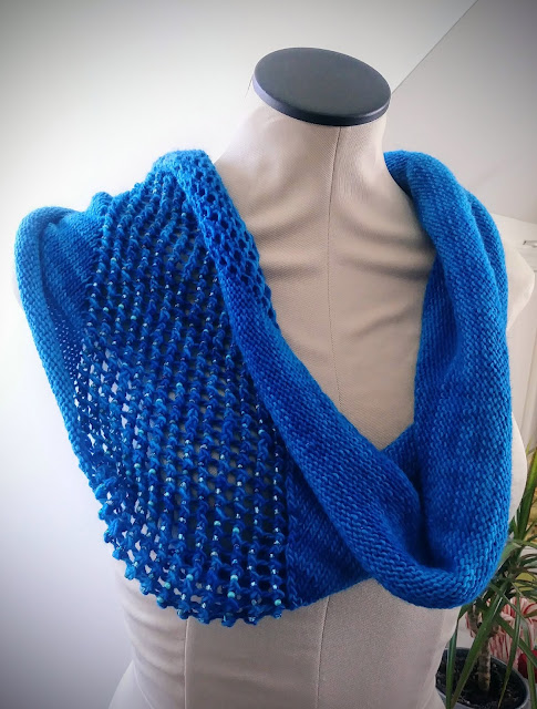 I enjoyed knitting this beaded lace cowl.