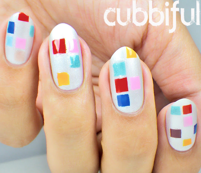 Colourful Geometric Squares Nail Art