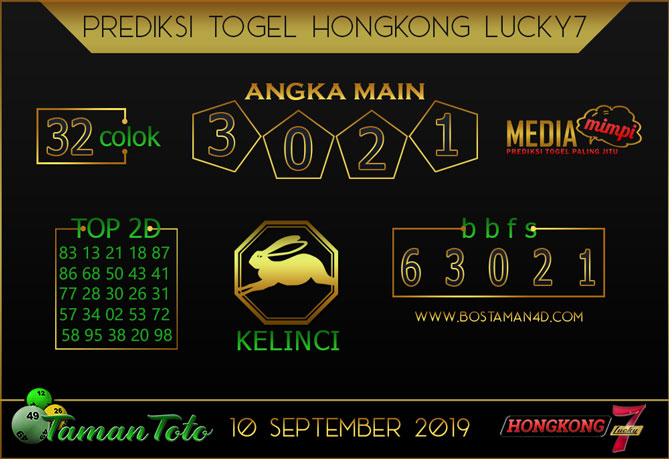 Prediksi Togel HONGKONG LUCKY 7 TAMAN TOTO 10 SEPTEMBER 2019