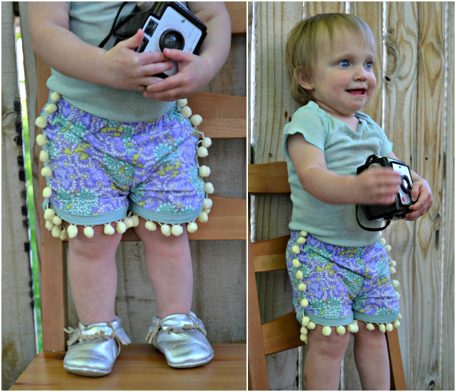 Sewing for the Girl: Floral Pompom Shorts