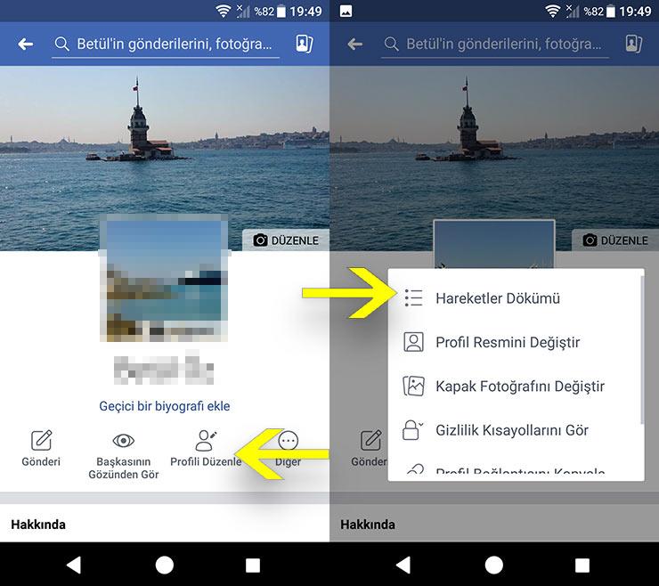 Facebook Hareketler dökümü Mobil uygulamada Nerede?