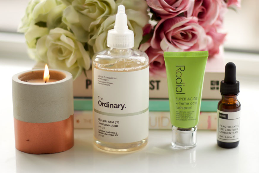The Ordinary Glycolic Acid Toning Solution, Rodial Super Acids Mask, Niod Fractionated Eye Concentrate