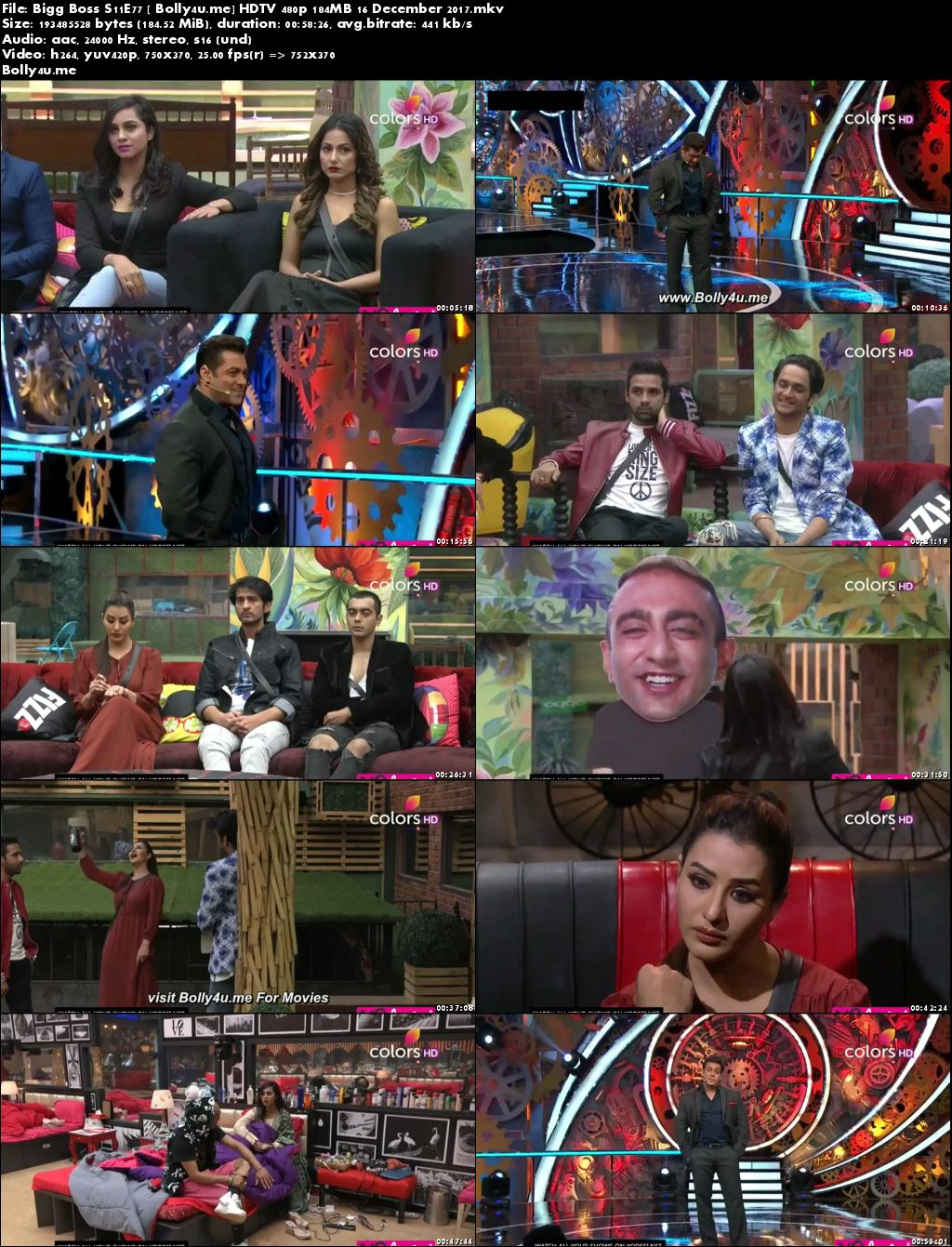 Bigg Boss S11E77 HDTV 480p 180MB 16 Dec 2017 Download