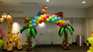 Tropical themed balloon arch