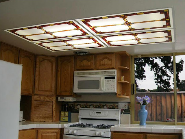 classy fluorescent kitchen lighting close to wood kitchen cabinet with white ceramic countertop