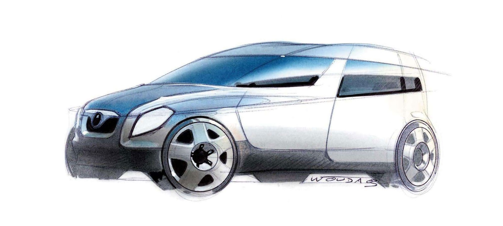 Skoda Roomster sketch by Peter Wouda - early theme front quarter view