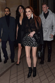 Lindsay Lohan in Black Dress at YSL Dinner Party in Paris, France