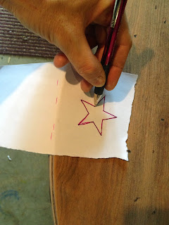 apply star pattern to table top using tracing method