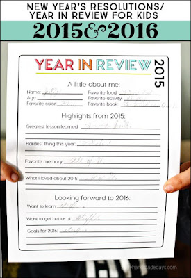 Old year review and New Year resolution, all in one page!  Great idea for your kiddos!