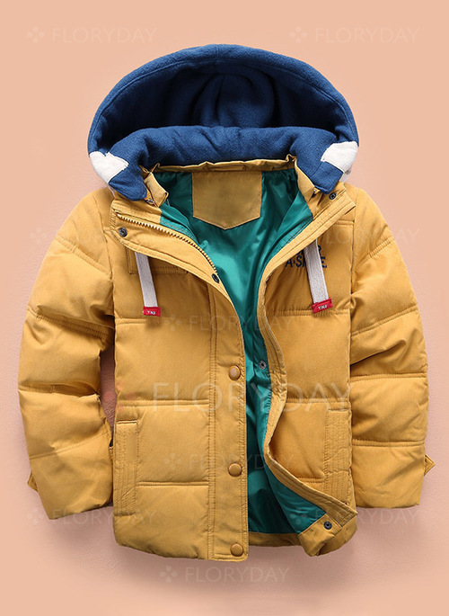Boys' Basic Color Block Hooded Coats